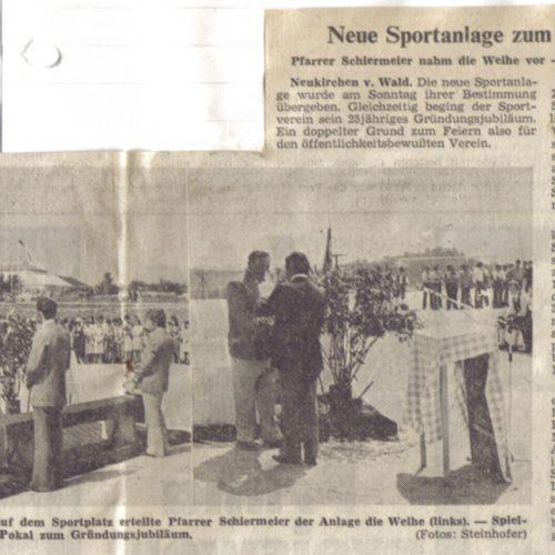 Zeitungsausschnitt Neue Sportanlage